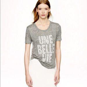 J Crew Linen Une Belle Vie T-Shirt